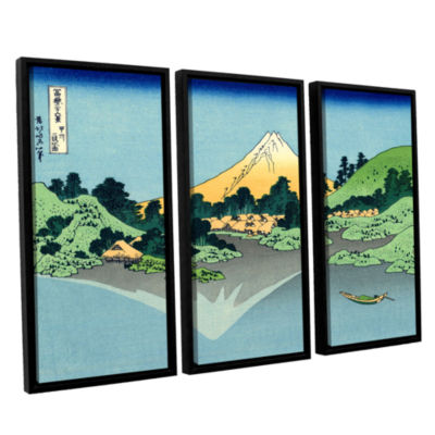 Brushstone The Fuji Reflects In Lake Kawaguchi Seen From The Misaka Pass In The Kai Province 3-pc. Floater Framed Canvas Wall Art