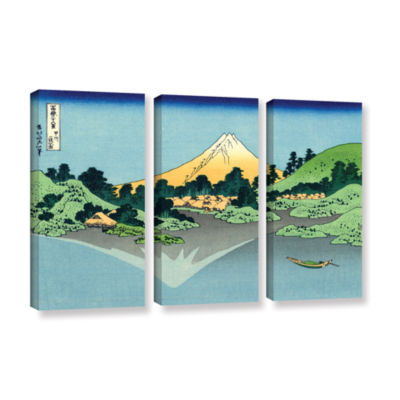 Brushstone The Fuji Reflects In Lake Kawaguchi Seen From The Misaka Pass In The Kai Province 3-pc. Gallery Wrapped Canvas Wall Art