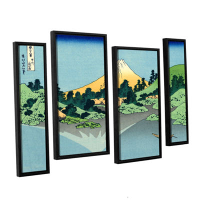 Brushstone The Fuji Reflects In Lake Kawaguchi Seen From The Misaka Pass In The Kai Province 4-pc. Floater Framed Staggered Canvas Wall Art