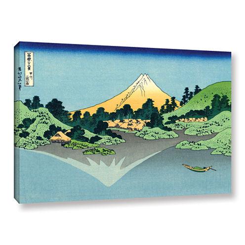 Brushstone The Fuji Reflects In Lake Kawaguchi Seen From The Misaka Pass In The Kai Province GalleryWrapped Canvas Wall Art