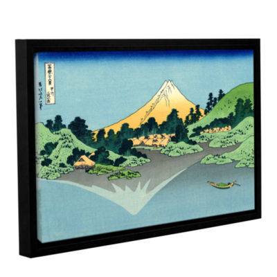 Brushstone The Fuji Reflects In Lake Kawaguchi Seen From The Misaka Pass In The Kai Province GalleryWrapped Floater-Framed Canvas Wall Art