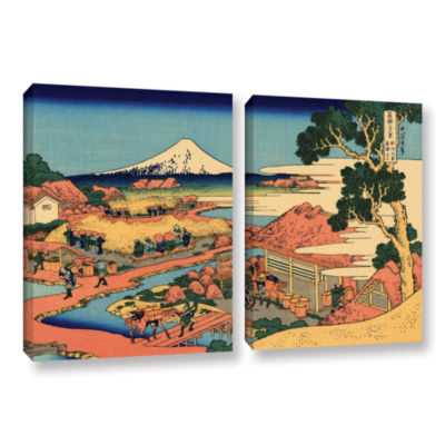 Brushstone Tea Plantation In Suruga Province 2-pc.Gallery Wrapped Canvas Wall Art