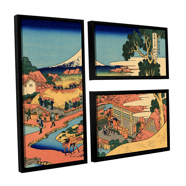 Brushstone Tea Plantation In Suruga Province 3-pc.Flag Floater Framed Canvas Wall Art