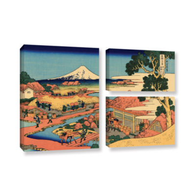 Brushstone Tea Plantation In Suruga Province 3-pc. Flag Gallery Wrapped Canvas Wall Art