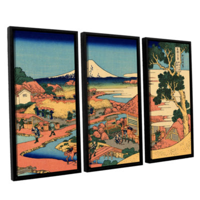Brushstone Tea Plantation In Suruga Province 3-pc. Floater Framed Canvas Wall Art
