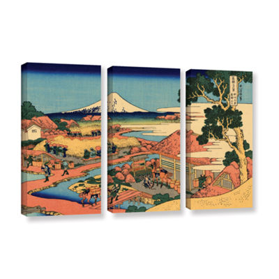 Brushstone Tea Plantation In Suruga Province 3-pc. Gallery Wrapped Canvas Wall Art