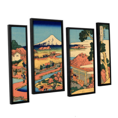 Brushstone Tea Plantation In Suruga Province 4-pc.Gallery Wrapped Staggered Canvas Wall Art