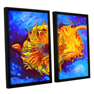 Brushstone Two Sunflowers 2-pc. Floater Framed Canvas Wall Art