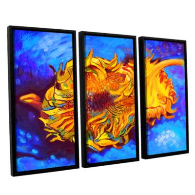 Brushstone Two Sunflowers 3-pc. Floater Framed Canvas Set
