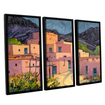 Brushstone Taos Pueblo 3-pc. Floater Framed Canvas Wall Art