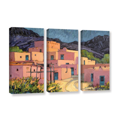Brushstone Taos Pueblo 3-pc. Gallery Wrapped Canvas Wall Art