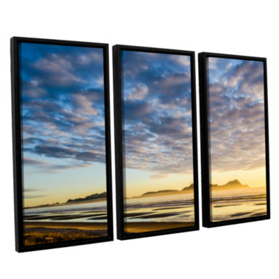 Brushstone Sunrise At Lang's Beach 3-pc. Floater Framed Canvas Wall Art
