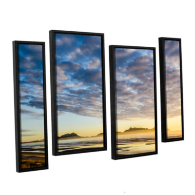 Brushstone Sunrise At Lang's Beach 4-pc. Floater Framed Staggered Canvas Wall Art