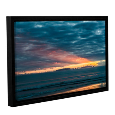 Brushstone Sunrise At Sandy Bay Gallery Wrapped Floater-Framed Canvas Wall Art