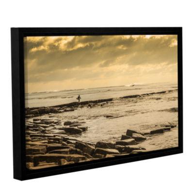 Brushstone Surfer Walks The Rocks Gallery WrappedFloater-Framed Canvas Wall Art