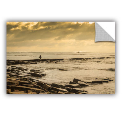Brushstone Surfer Walks The Rocks Removable Wall Decal