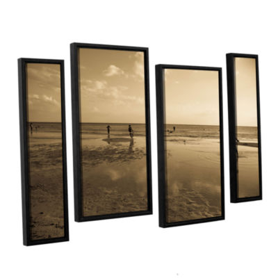 Brushstone Water Steps 4-pc. Floater Framed Staggered Canvas Wall Art