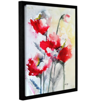 Brushstone Vibrant Poppies Gallery Wrapped Floater-Framed Canvas
