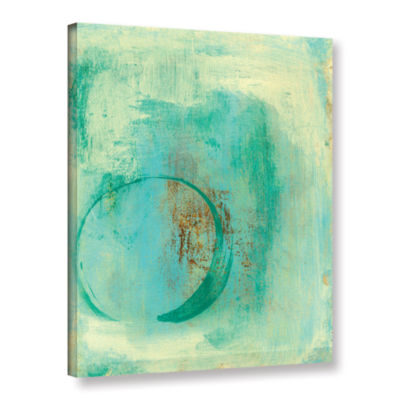 Brushstone Teal Enso Gallery Wrapped Canvas Wall Art