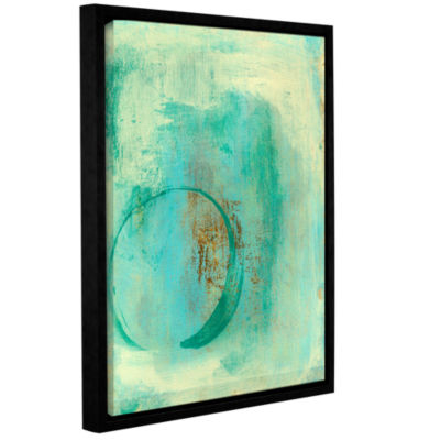 Brushstone Teal Enso Gallery Wrapped Floater-Framed Canvas Wall Art