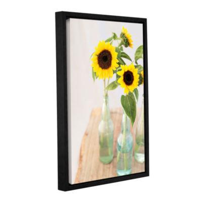 Brushstone Sunflowers In A Bottle Gallery WrappedFloater-Framed Canvas Wall Art