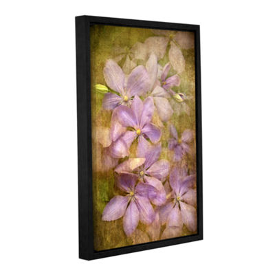 Brushstone Violet Flowers Gallery Wrapped Floater-Framed Canvas Wall Art