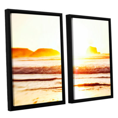 Brushstone Sunset On The Sea 2-pc. Floater FramedCanvas Wall Art