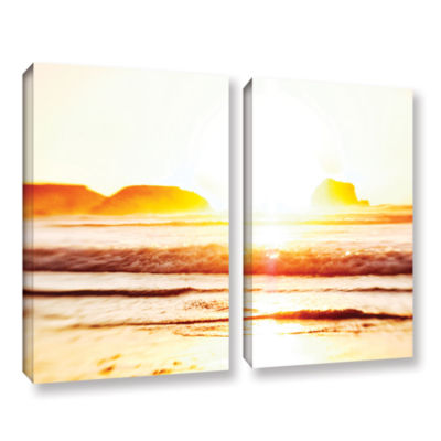 Brushstone Sunset On The Sea 2-pc. Gallery WrappedCanvas Wall Art