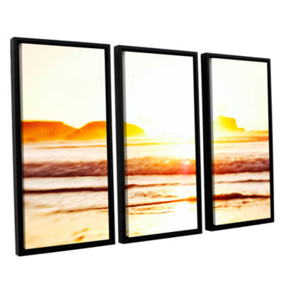 Brushstone Sunset On The Sea 3-pc. Floater FramedCanvas Wall Art