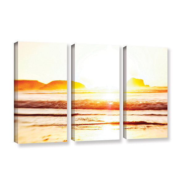 Brushstone Sunset On The Sea 3-pc. Gallery Wrapped Canvas Wall Art