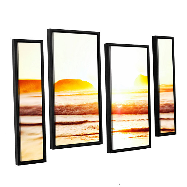 Brushstone Sunset On The Sea 4-pc. Floater FramedStaggered Canvas Wall Art