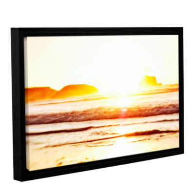 Brushstone Sunset On The Sea Gallery Wrapped Floater-Framed Canvas Wall Art