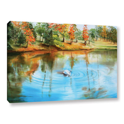 Brushstone Swan At Crandall Park Gallery Wrapped Canvas Wall Art