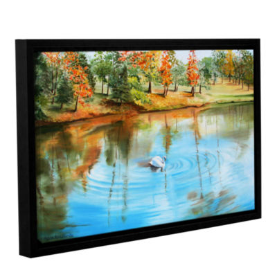 Brushstone Swan At Crandall Park Gallery Wrapped Floater-Framed Canvas Wall Art