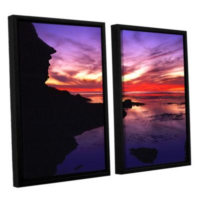 Brushstone Sunset Cliffs Twilight 2-pc. Floater Framed Canvas Wall Art