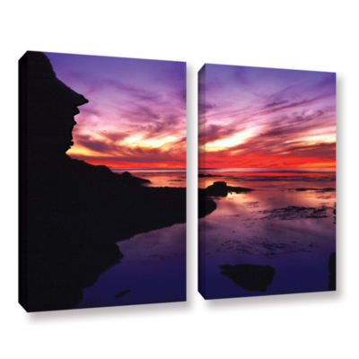 Brushstone Sunset Cliffs Twilight 2-pc. Gallery Wrapped Canvas Wall Art