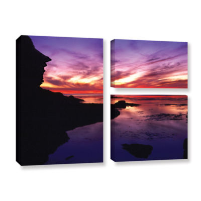 Brushstone Sunset Cliffs Twilight 3-pc. Flag Gallery Wrapped Canvas Wall Art