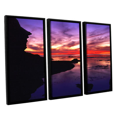 Brushstone Sunset Cliffs Twilight 3-pc. Floater Framed Canvas Wall Art
