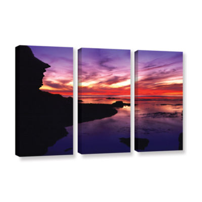 Brushstone Sunset Cliffs Twilight 3-pc. Gallery Wrapped Canvas Wall Art
