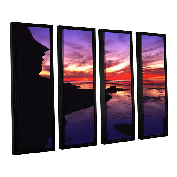 Brushstone Sunset Cliffs Twilight 4-pc. Floater Framed Canvas Wall Art