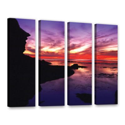 Brushstone Sunset Cliffs Twilight 4-pc. Gallery Wrapped Canvas Wall Art
