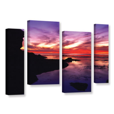Brushstone Sunset Cliffs Twilight 4-pc. Gallery Wrapped Staggered Canvas Wall Art