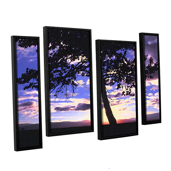 Brushstone Teton Meadow Sunrise 4-pc. Floater Framed Staggered Canvas Wall Art