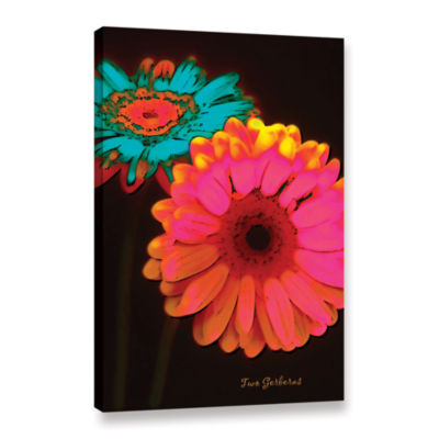 Brushstone Two Gerberas at Night Gallery Wrapped Canvas