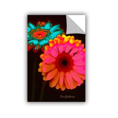 Brushstone Two Gerberas at Night Removable Wall Decal