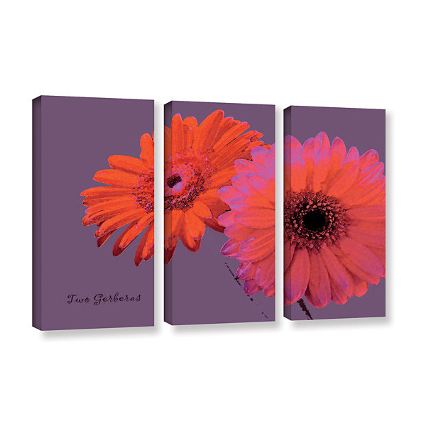 Brushstone Two Gerberas 3-pc. Gallery Wrapped Canvas Set
