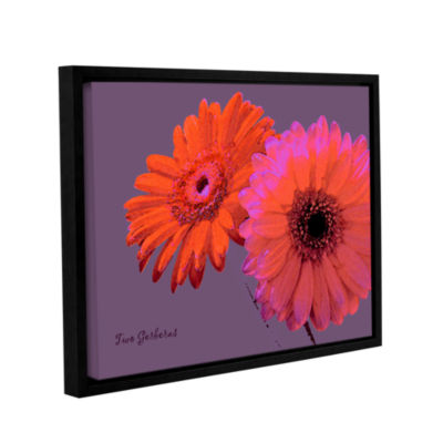 Brushstone Two Gerberas Gallery Wrapped Floater-Framed Canvas