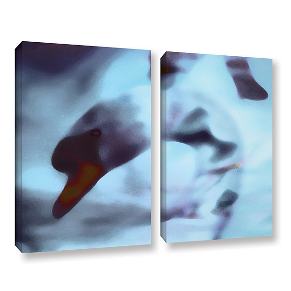 Brushstone Swan Impression 2-pc. Gallery Wrapped Canvas Wall Art