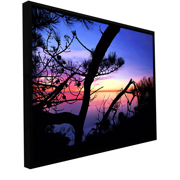 Brushstone Sunset Forest Gallery Wrapped Floater-Framed Canvas Wall Art