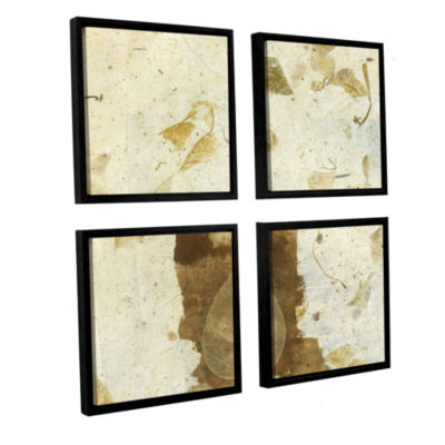 Brushstone Wabi-Sabi Bodhi Leaf Collage 1 4-pc. Floater Framed Canvas Sqare Set